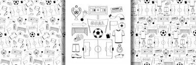 Naklejka Football objects set and seamless patterns set