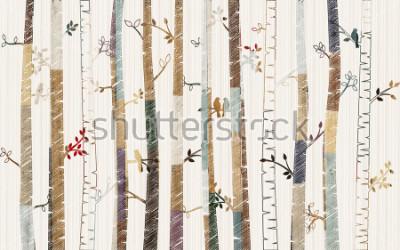 Naklejka Forest tree pattern on decorative background wallpaper