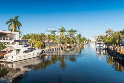 Naklejka Fort Lauderdale, Floryda. Piękny widok na kanałach miejskich