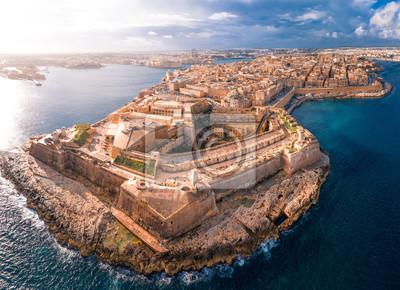 Naklejka Fort St Elmo, Valletta, Malta, aerial view. Valletta is the southernmost capital of Europe