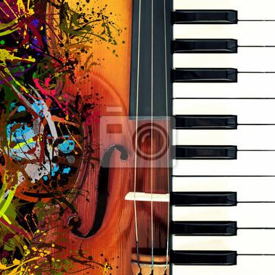 Naklejka fortepian i skrzypce klasyczne, śmieszne kolorowe sztuki rozpryskiwania na tle muzyki