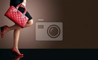 Naklejka Fotografia mody, sexy kobieta z torebka