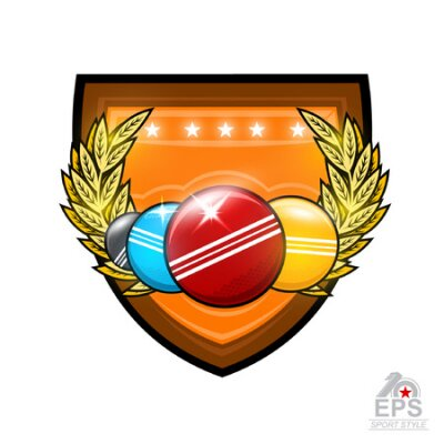 Four croquet balls between golden wreath in the center of shield. Sport logo for any team or championship on white