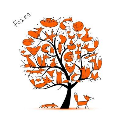 Naklejka Fox rodziny, drzewa sztuki dla projektu