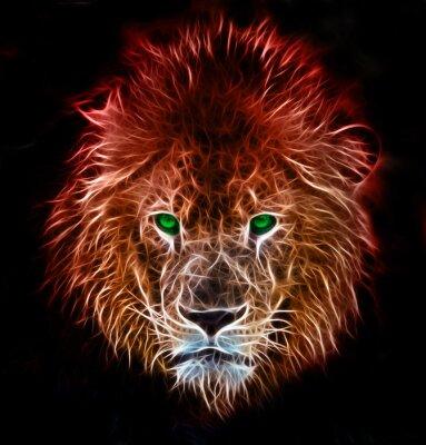 Naklejka Fractal cyfrowy fantazja sztuki lwa na tle pojedyncze