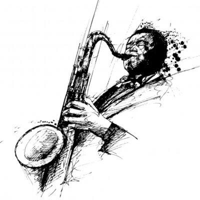Naklejka freehanding rysunek saksofonista jazzowy