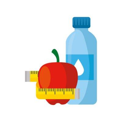 Naklejka fresh apple fruit with bottle water and tape measure vector illustration design