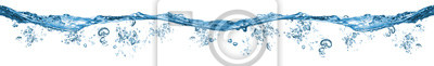 Naklejka fresh blue natural drink water wave wide panorama with bubbles concept isolated white background