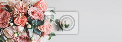 Naklejka Fresh bunch of pink peonies and roses with copy space