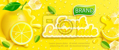 Naklejka Fresh lemonade with lemon, splash, apteitic drops from condensation, fruit slice, ice cubes on gradient yellow background for brand,logo, template,label,emblem and store,packaging,advertising.Vector
