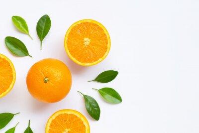 Naklejka Fresh orange citrus fruit with leaves isolated on white background.