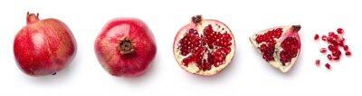 Naklejka Fresh pomegranate isolated on white background