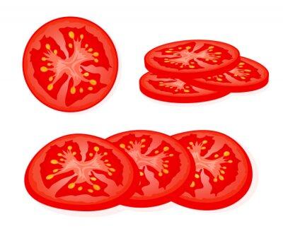 Naklejka Fresh red tomato sliced slices isolated on white background. Juicy ripe tomato. Vector Illustration.
