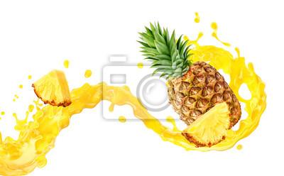 Naklejka Fresh ripe pineapple, slice and pineapple juice 3D splash wave. Healthy food or tropical fruit drink liquid ad label design. Tasty pineapple juice or smoothie splash isolated, vitamin cocktail concept