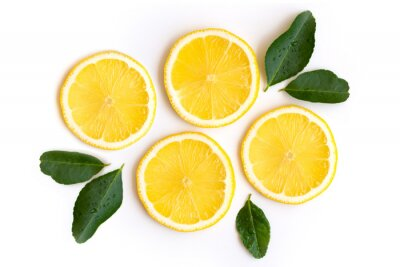 Naklejka Fresh slices of yellow lemon lime fruit with green leaf isolated on white background . Top view. Flat lay.