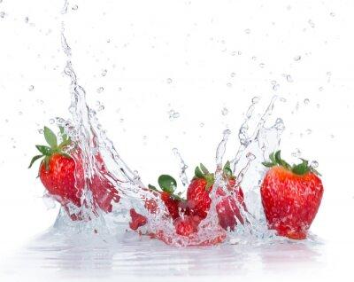Naklejka Fresh Strawberries with water splash
