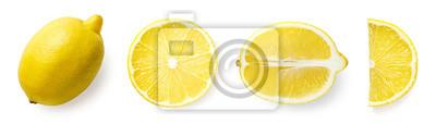 Naklejka Fresh whole, half and sliced lemon