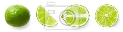 Naklejka Fresh whole, half and sliced lime fruit