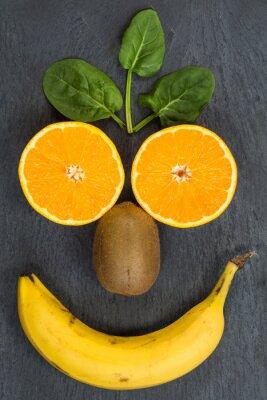 Naklejka Freundliches Gesicht aus Obst - Bleib gesund