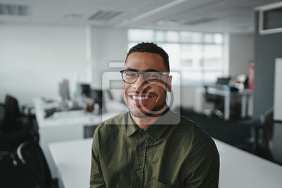 Naklejka Friendly and smiling young african american professional businessman looking at camera in modern office