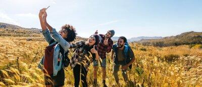 Naklejka Friends taking selfie on hiking trip