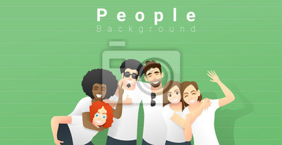 Naklejka Friendship concept with group of young friends having fun and standing together on green wall background , vector , illustration