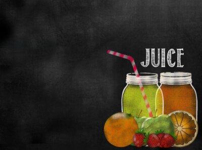 Naklejka fruit Juicing theme chalkboard blackboard with copy space