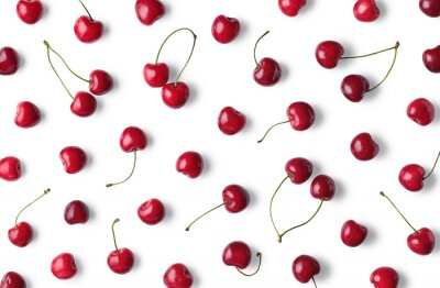 Naklejka Fruit pattern of cherries isolated on white background