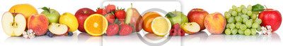 Naklejka Fruits collection apple apples orange berries grapes banner fresh fruit isolated on white in a row