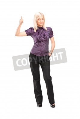 Naklejka Full length portrait of a stylish woman giving thumb up isolated on white background
