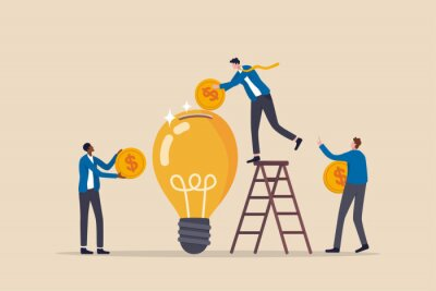 Naklejka Fundraising idea, funding new innovative project, donation, investing or VC venture capital to support startup idea concept, business people donate or contribute fund raiser new lightbulb project.