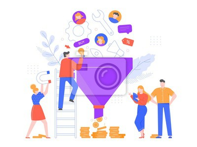 Funnel sales analyzing. Lead generation, marketing funnel and selling strategy vector illustration. Brand promotion, customer oriented business. Professional marketers team cartoon characters