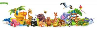 Naklejka Funny animals. 3d vector panorama. Quokka, shark, turtle, parrot, giraffe, rabbit, zebra, elephant, stork, crocodile, kangaroo, panda. High quality 50mb eps