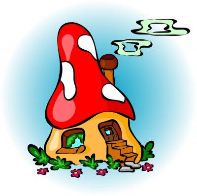 Naklejka Funny cartoon grzyby dom
