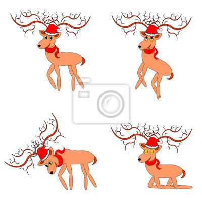 Naklejka Funny christmas jeleni na białym tle