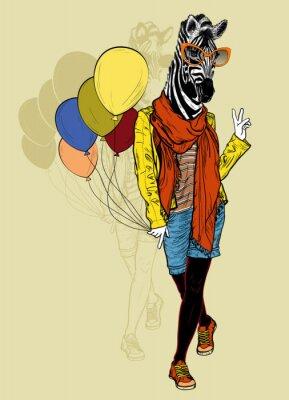 Naklejka Funny mody zebra z balonów