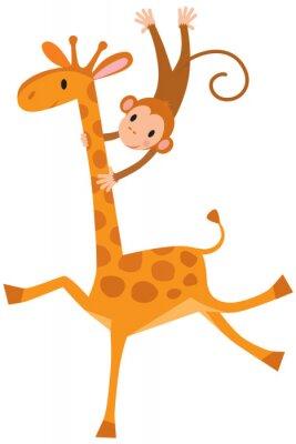 Naklejka Funny żyrafa z małpą