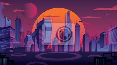 Naklejka Futuristic City Landscape