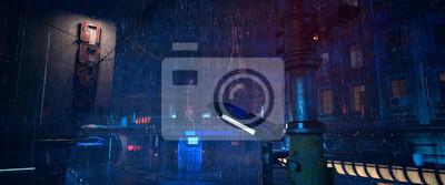 Naklejka Futuristic city landscape. Rainy night scene. Photorealistic 3d illustration of the gloomy cityscape in the style of cyberpunk. Empty street with neon lights.