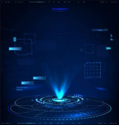 Naklejka Futuristic hologram for presentation, vector template for your project! Dark High-tech illustration, 3D abstract hologram with HUD interface. Vector illustration
