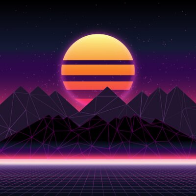 Naklejka Futuristic retro landscape of the 80`s. Abstract illustration of sun with mountains. Digital retro cyber surface. Wireframe landscape background