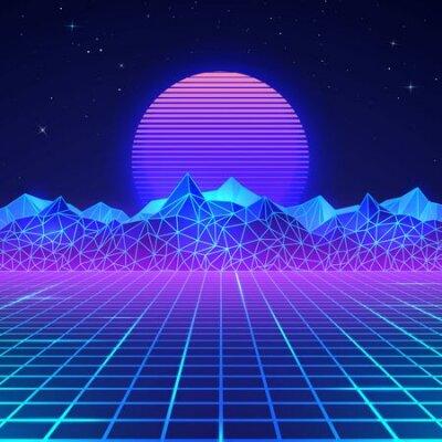 Naklejka Futuristic retro landscape of the 80`s in neon colors. Sun with mountains in retro style. Digital retro cyber surface. Vector illustration