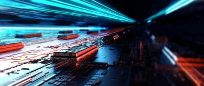 Naklejka Futuristic server/Abstract background circuit board futuristic server. Can be used as digital dynamic wallpaper, technology background. 3d rendering