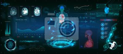 Naklejka Futurystyczne skanowanie MRT w stylu HUD, ludzkie ciało, organy i skanowanie mózgu ze zdjęciami. Elementy hi-tech. Wirtualny graficzny interfejs użytkownika HUD z ilustracją wzoru DNA, kardiogramu i w