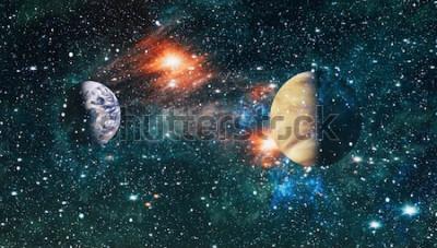 Naklejka Futurystyczny abstrakcyjne tło. Nocne niebo z gwiazdami i mgławicą. Elementy tego zdjęcia dostarczone przez NASA