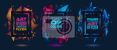 Naklejka Futurystyczny projekt ramki z abstrakcyjnymi kształtami i kroplami kolorów