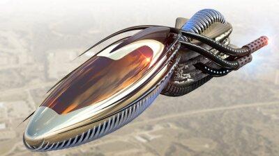 Naklejka Futurystyczny statek kosmiczny wojskowy lub nadzoru Drone