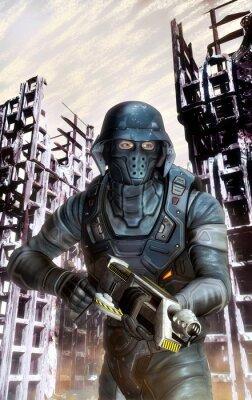 Naklejka futurystyczny żołnierz w akcji na wojnie
