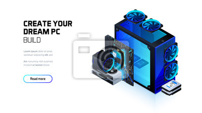 Naklejka Gaming, workstation and mining computer isometric illustration, custom assembly computer components for workstation, pc store and service