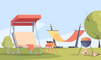Naklejka Garden background. Outdoor relax place in private rural house barbecue fireplace soft modern furniture table chairs and swings gardenning backyard garish vector picture